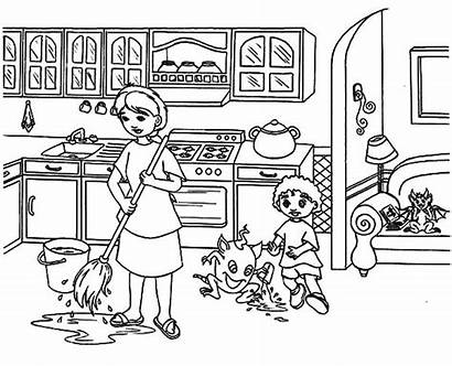 Kitchen Coloring Pages Floor Mother Moping Cooking