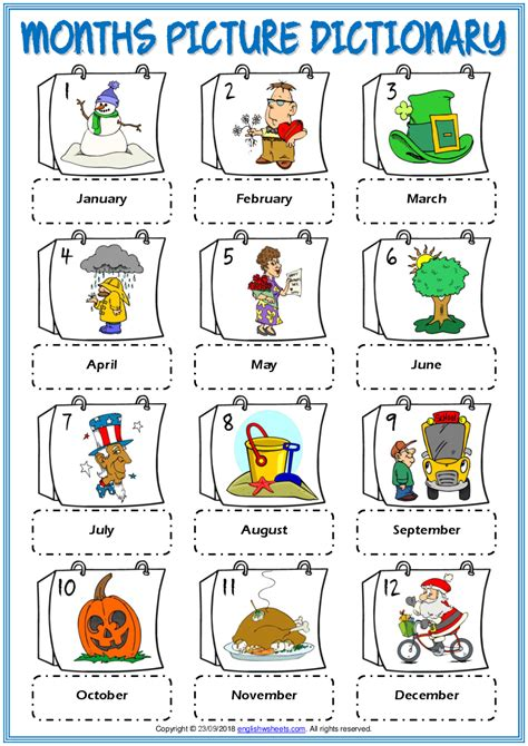 Resources you can't afford not to have. months vocabulary esl picture dictionary worksheet for ...