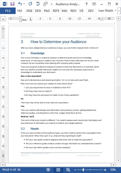 audience analysis template ms word excel  samples