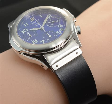 hublot mdm stainless steel  mm chronograph  blue