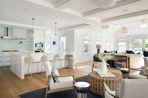 open plan kitchen living room design shingle style house with chic interiors on nantucket
