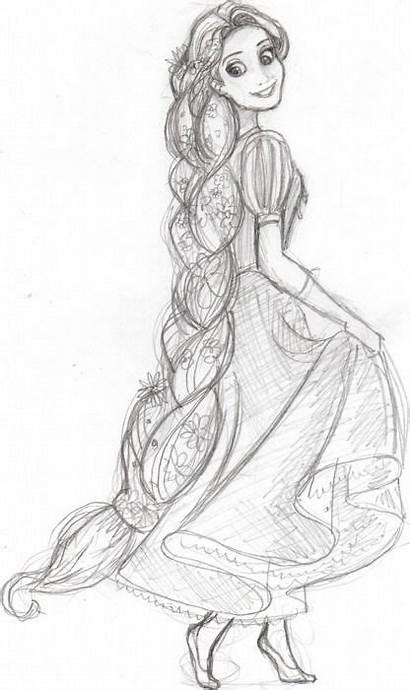 Rapunzel Sketch Drawing Disney Tangled Drawings Sketches