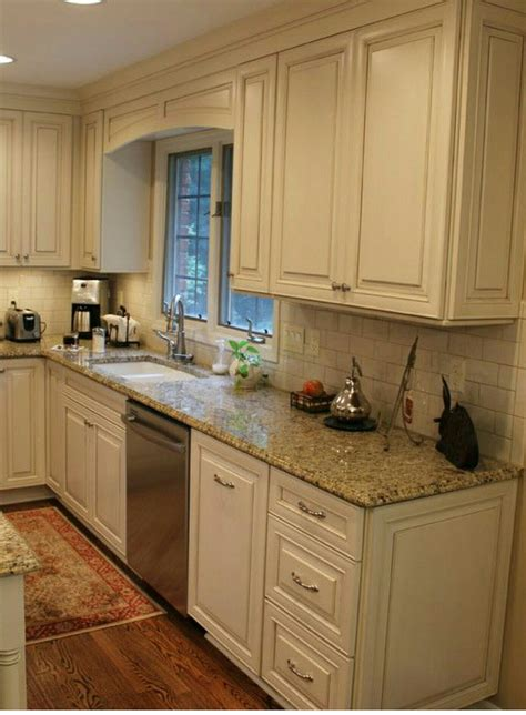 White Cabinets Subway Tile Beige Granite Countertops