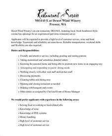 restaurant server resume description doc 7911024 server description banquet server description for resume company resume