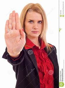 Woman making stop gesture stock photo. Image of looking ...