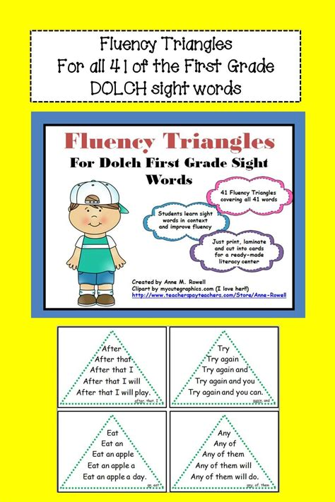 reading fluency activity fluency triangles 174 for grade sight words rti triangles