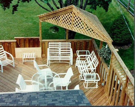 neat corner shade roof pergola gazebo  deck