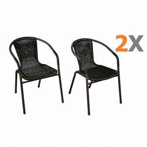 Chaise Rotin Noir : 2 x chaises bistro poly rotin noir empilable achat vente fauteuil jardin 2 x chaises bistro ~ Teatrodelosmanantiales.com Idées de Décoration