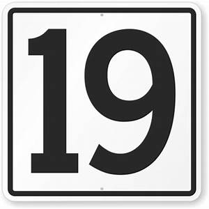 images of number 19 | Parking Lot Number Sign: Sign With ...