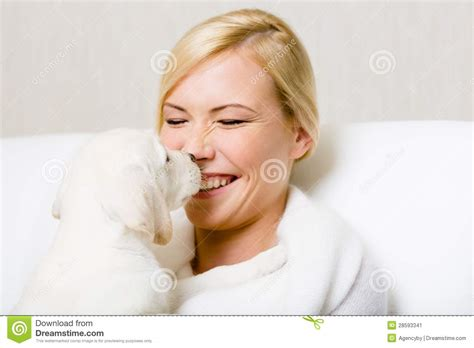 Labrador Puppy Licking The Face Of Woman Stock Image Image 28593341
