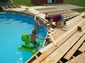 Surprisingly Pool Deck Plans by How To Build A Deck Around Above Ground Pool
