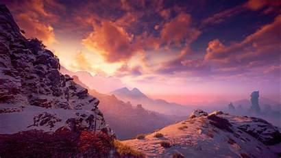 Snowy Horizon Dawn Zero Mountains Resolution Vii