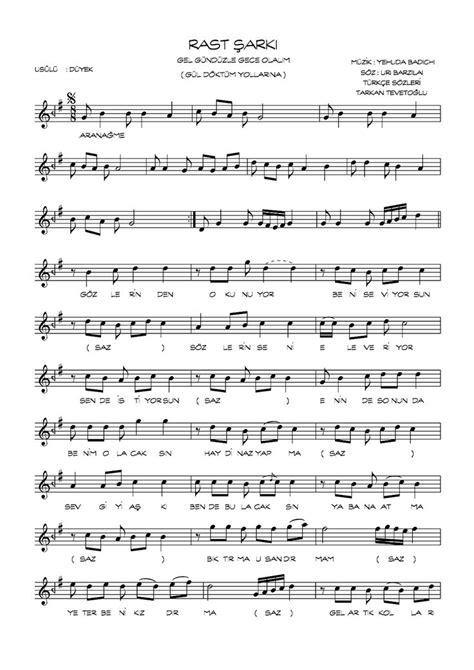 Şarkı Nota Ve Sözleri  Türk Halk Müziği, Türk Sanat