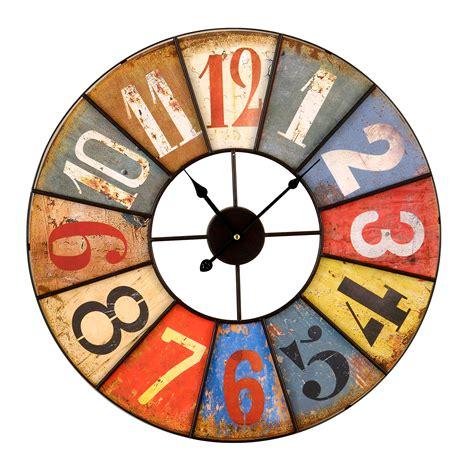 tableau memo cuisine horloge murale en métal multicolore viellie d 58cm antik