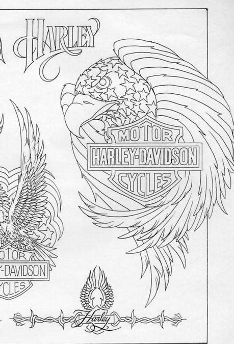 Harley Davidson Motorcycle Eagle Tattoo with Blueprint - Paperblog