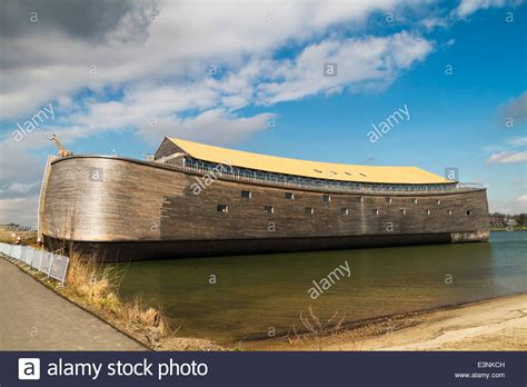 full size wooden replica  noahs ark  yellow roof