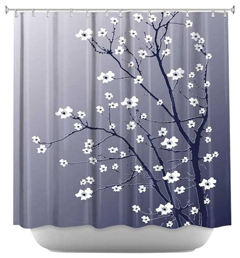 shower curtain artistic blooming tree blue grey
