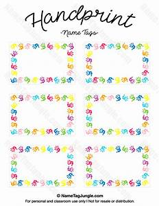 Free printable handprint name tags the template can also for Locker tag templates