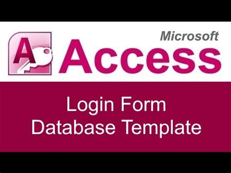 microsoft access login form  template youtube