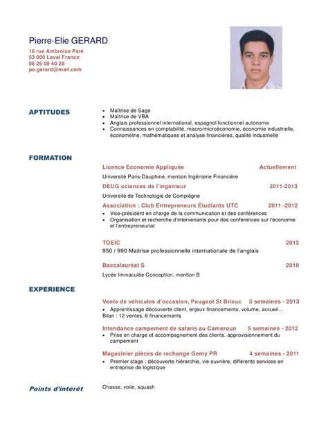 Cv En Ligne Gratuit Télécharger by Exemple De Cv 233 Tudiant Licence Sle Resume
