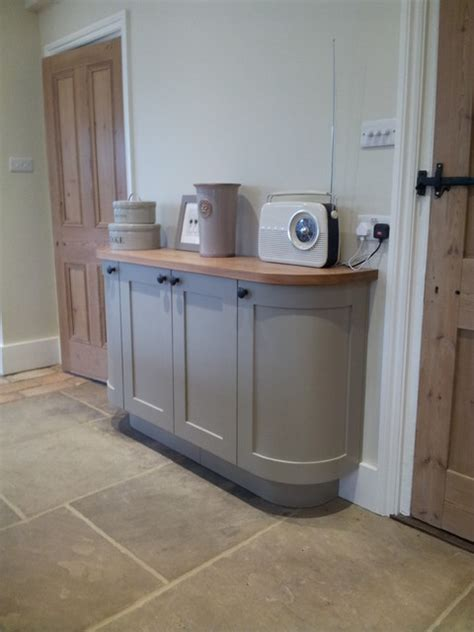 Tiles For Kitchens Ideas - curved sideboard in farrow ball light grey no 17