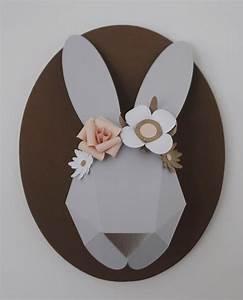 Trophée Chambre Bébé : lapin papier trophee chloe fleury 5 things beauty papier lapin origami et lapin ~ Teatrodelosmanantiales.com Idées de Décoration
