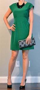Outfit post green dress black pumps black bib necklace | Outfit Posts