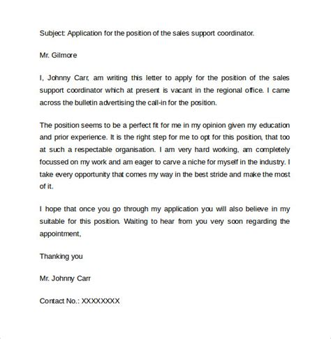 cover letter examples  sales   sample