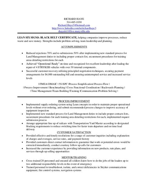 Six Sigma Green Belt Resume by Richard Haye Resume 1 23 13
