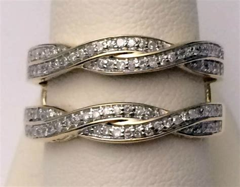 wave ribbon style yellow gold solitaire enhancer diamonds