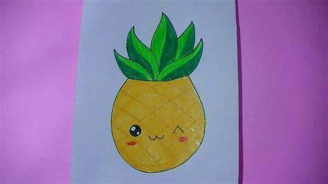 como dibujar pintar anana pi 241 a kawaii semana comida kawaii