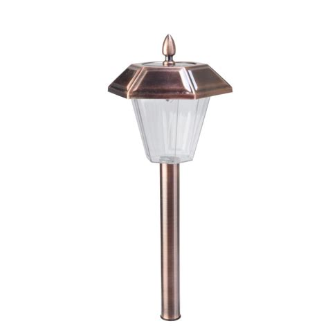 moonrays stafford brushed copper solar powered led outdoor