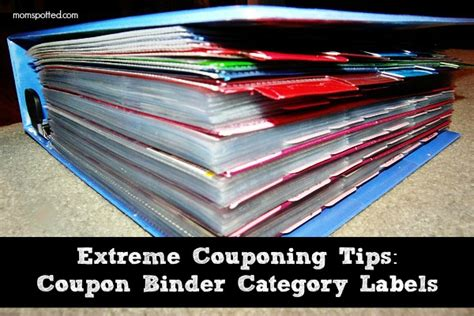 coupon binder category labels  extreme coupon