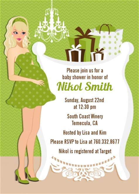 modern mommy crib neutral baby shower invitations