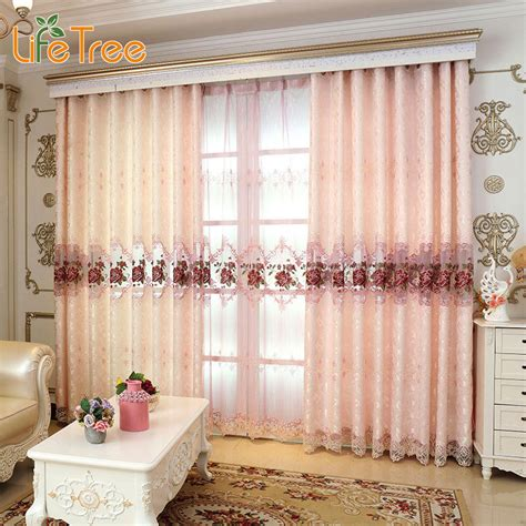 Lovely Pink Peony Embroidered Luxury Curtains For Bedroom