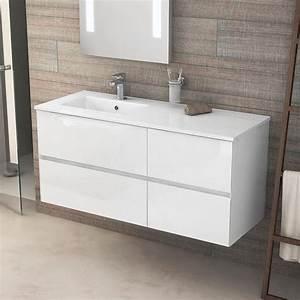 meuble salle de bain 121 cm blanc brillant vasque a With meuble blanc de salle de bain