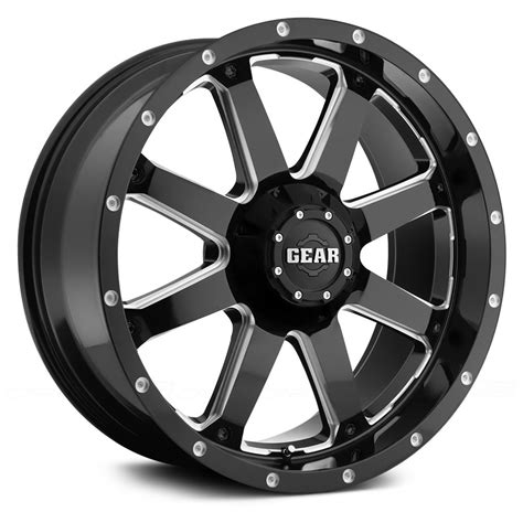 gear alloy 174 726mb big block wheels gloss black with milled accents rims