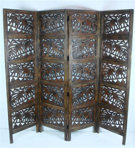 4 Panel Hand Carved Indian Screen Wooden Elephant Screen