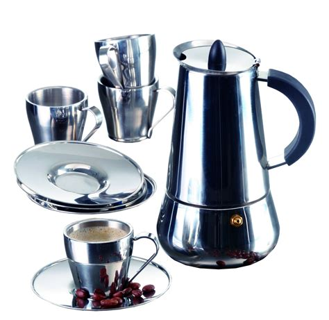 The imusa stove top espresso makers allow you to be a barista at home! Buy IMUSA USA B120-22069SET Stainless Steel Espresso Set with Stovetop Coffeemaker, Cups and ...