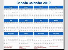 Canada Holidays 2019 Printable Calendar Download April