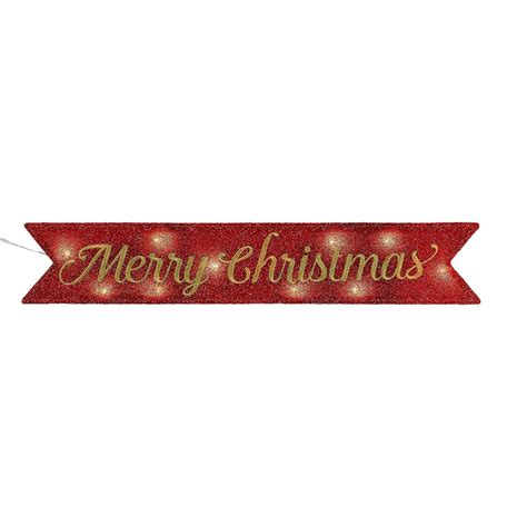 mr christmas inc lighted merry christmas banner red