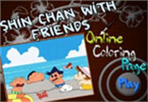 Shin Chan with Friends Online Coloring Page - 123peppy.com