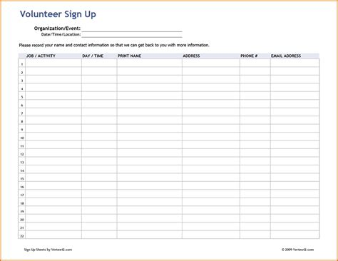 Blank Sign Up Sheet Pdf by Signup Sheet Pdf Clergy Coalition