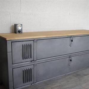 Meuble Tv Industrielle : 25 best ideas about meuble tv industriel on pinterest table tv tv debout and barre de son tv ~ Nature-et-papiers.com Idées de Décoration