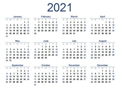 Calendar 2021 Printable Kids