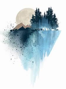 Blue mountain watercolor art print By White Doe Prints ...