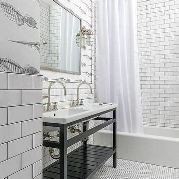 white bathroom tiles  gray grout transitional kitchen