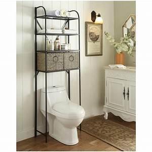 Behind the toilet shelving unit o shelves for Metal bathroom shelving unit