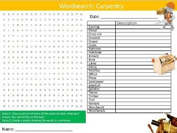 carpentry wordsearch puzzle sheet keywords woodwork wood