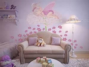 stickers muraux chambre fille fee fleurs With chambre bébé design avec fleurs de bach n 58